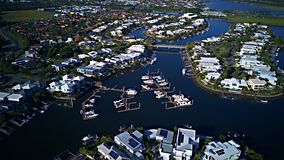 Harbour View Canal Estate and Boat Harbour RiverLinks Estate next to Coomera River Morning view Hope Island, Gold Coast Stock Photos