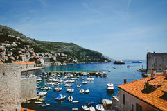 Harbour view of Dubrovnik. Croatia. Dubrovnik. Views of the marina with fishing boats royalty free stock image