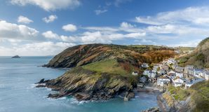 Harbour view of the small fihing village of Portloe, Cornwall royalty free stock images
