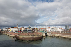 Harbour. View of the town of Vlissingen on the part of the embankment Stock Photography