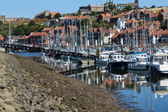 Harbour view of Whitby. View of Whitby a harbour and boats Royalty Free Stock Photos