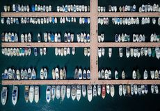 Harbour Views. Birds eye view of a Harbour in the south of France showing perfect lines of boats creating an abstract pattern taken from a drone royalty free stock images