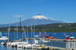 Harbour in Villarica village, on the lake near volcano Stock Photo