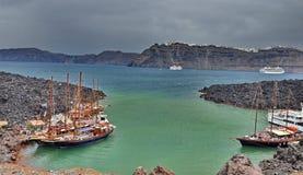 Harbour in Volcano island Santorini Stock Photo