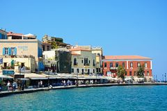 Harbour waterfront buildings, Chania. Stock Images