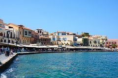Harbour waterfront buildings, Chania. Stock Photos