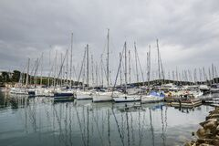 Free Harbour With Yachts Of Coastal Town Vrsar, Croatia. Vrsar - Beautiful Antique City, Yachts And Adriatic Sea Stock Photography - 213384572