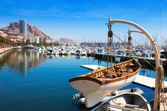 Harbour with yachts in Alicante. View of harbour with yachts in Alicante Royalty Free Stock Photography