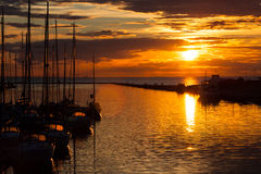 Harbour and the yachts at sunset Royalty Free Stock Photo