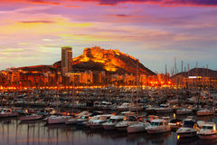 Harbour with yachts  during sunset. Alicante, Spain Royalty Free Stock Images
