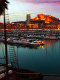 Harbour with yachts in sunset. Alicante Royalty Free Stock Photo