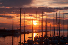 Harbour and the yachts at sunset Royalty Free Stock Photography
