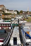 Harbour zone of Auxerre, the river Yonne Stock Photo