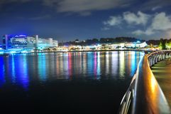 Harbourfront with boardwalk by night Royalty Free Stock Image