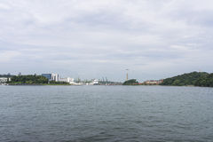 Harbourfront Centre. Singapore harbourfront with cable car linking to Sentosa island Stock Image
