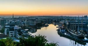 Harbourside de Bristol au lever de soleil Image libre de droits