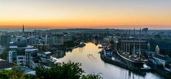Harbourside di Bristol ad alba Fotografia Stock