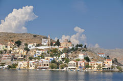 Harbourside homes on Symi island Stock Images