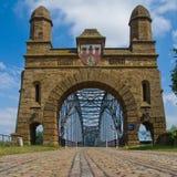 Harburg bro över Elben royaltyfri fotografi