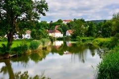 Harburg Germany and the Wornitz River. Stock Photo