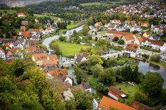Harburg: View from the Harburg Castle. It is a part of the scenic route called `Romantic Road`. Bavaria, Germany. royalty free stock photo