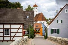 """Harburg : Vue le du pont C'est une pièce de l'itinéraire scénique appelé """"la route romantique """" La Bavière, Allemagne image libre de droits"""