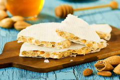 Hard Almond Nougat Candy, Turrón, or Torrone Royalty Free Stock Photography