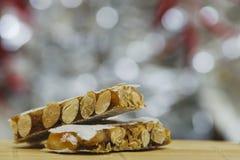 Hard almond turron Stock Images