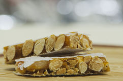 Hard almond turron Stock Photos