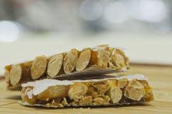 Hard almond turron Stock Photos