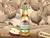 Hard apple cider ads. Refreshing beverage with realistic apples and containers in 3d illustration, retro engraving rural scenery background Stock Photo