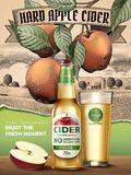 Hard apple cider ads. Refreshing beverage with realistic apples and containers in 3d illustration, retro engraving rural scenery background Stock Image