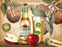 Hard apple cider ads. Refreshing beverage with realistic apples and containers in 3d illustration, retro engraving style background Royalty Free Stock Photo