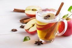Hard apple cider with cinnamon stick Stock Image