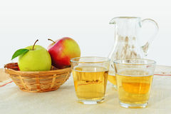 Hard Apple Cider in glasses and pitcher Royalty Free Stock Images