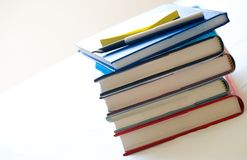 Hard back books with pen and notelet Stock Image