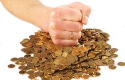 Hard beheer van een munt Royalty-vrije Stock Foto
