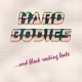 Hard bodies 80s style illustration. A retro vaporware and 80s style illustration of a square background with the text `hard bodies and block rocking beats Stock Image