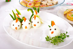 Hard Boiled Egg Chicken Family Royalty Free Stock Photos