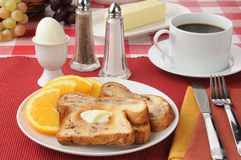 Hard boiled egg and cinnamon toast Stock Photography