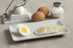 Hard boiled egg in slices Royalty Free Stock Photography