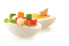 Hard-boiled egg with vegetables mix Royalty Free Stock Photography