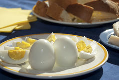 Hard-boiled eggs Stock Image