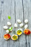 Hard Boiled Eggs. Bio Fresh hard boiled eggs ,mozzarella cheese and fresh basil sliced and broken with  onion and red pepper on wooden background Stock Photo