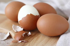 Hard boiled eggs. With eggshell Stock Photo