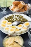 Hard boiled eggs and green beans Stock Photography