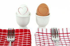Hard boiled eggs with hearts Stock Images