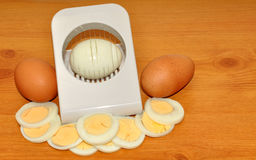 Hard Boiled Eggs And Slicer Royalty Free Stock Photography