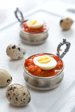 Hard boiled quail eggs Royalty Free Stock Images