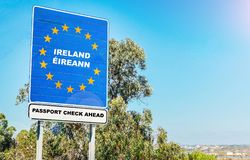 Hard border from Northern Ireland to Ireland concept post-Brexit with passport checks. And copy space stock photography
